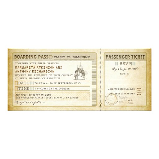 Schiffs-Boarding-Durchlaufhochzeit Karte-lädt u. Ankündigungen