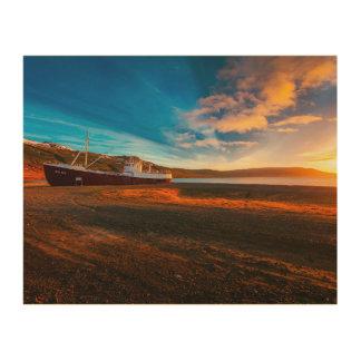 Schiffs-Boots-Sonnenuntergang-Wand-Kunst Holzdruck