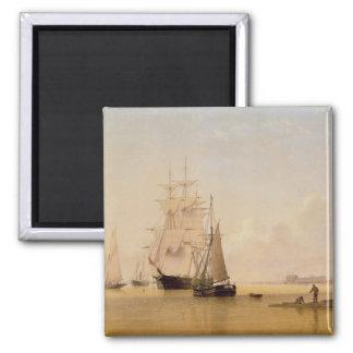 Schiffs-Malerei (Öl auf Leinwand) 2 Quadratischer Magnet