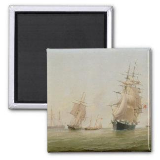 Schiffs-Malerei (Öl auf Leinwand) Quadratischer Magnet