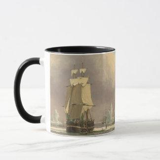 Schiffs-Ozean-Szene Nordpols drei bemastete Tasse