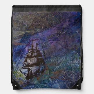 Schiffs-Segeln an der Nachtcollagen-Tasche Turnbeutel