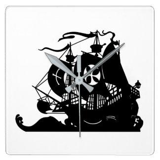 Schiffs-Silhouette Quadratische Wanduhr
