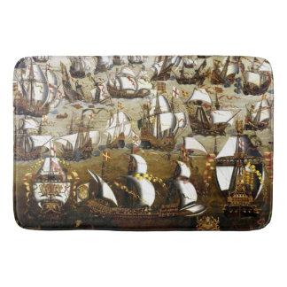 Schiffsbadmatte der spanischen Armada und Englisch Badematte