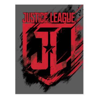 Schild der Gerechtigkeits-Liga-| gebürstetes Postkarte