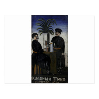 "Schild ""kalt, kaltes Bier"" durch Niko Pirosmani Postkarte"
