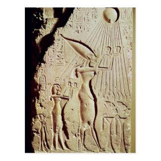 Schilderung von Amenophis IV, von Nefertiti und Postkarte