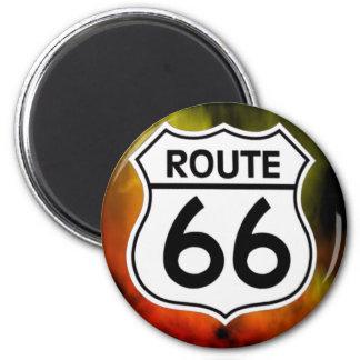 Schildfeuer des Weges 66 Runder Magnet 5,1 Cm
