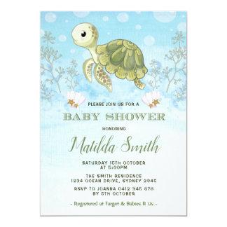 Schildkröte-Babyparty-Einladung unter dem Seeozean Karte