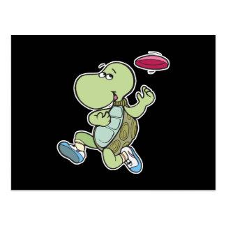 Schildkröte, die Frisbee spielt Postkarten