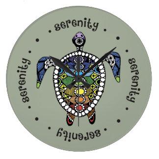 Schildkröte-Harmonie-runde (große) Wanduhr