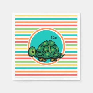 Schildkröte; Helle Regenbogen-Streifen Serviette