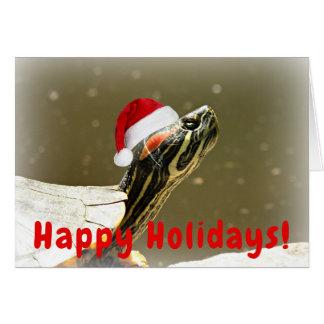 Schildkröte im Sankt-Kappen-lustigen Weihnachten Karte