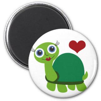 Schildkröte-Mädchen Runder Magnet 5,7 Cm