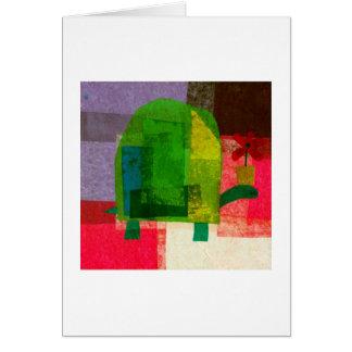 Schildkröte mit Blumen-Topf Karte