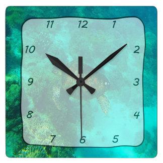 Schildkröte-Schwimmen unter Wasser-Quadrat-Uhr Quadratische Wanduhr