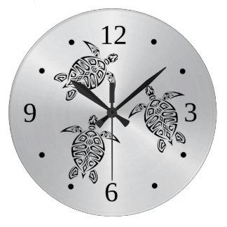 Schildkröte-Stammes- Tätowierungs-Schwarz-Tier Große Wanduhr