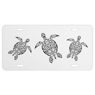 Schildkröte-tierische Stammes- Tätowierung US Nummernschild