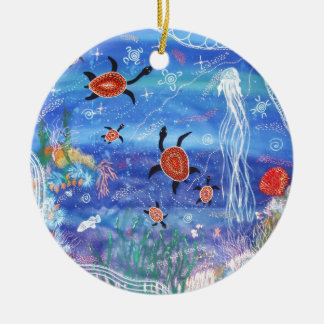 Schildkröte-Träumen Rundes Keramik Ornament