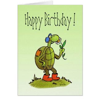 Schildkröte- und Blumengeburtstagskarte Grußkarte