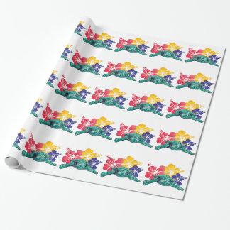 Schildkröte-und Hibiskus-Blumen Geschenkpapier