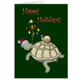 Schildkröte-und Schnecke-Weihnachten Karte