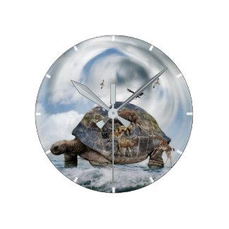 Schildkröte-Welttier-Wanduhr Runde Wanduhr