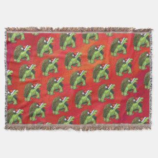 Schildkröten-Weihnachten auf Rot Decke