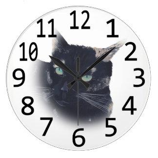 Schildpatt-Katzen-Gesichts-Kopf-Malerei-Wanduhren Große Wanduhr