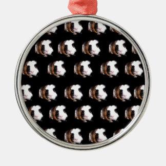 Schildpatt-Meerschweinchen-Muster, Rundes Silberfarbenes Ornament