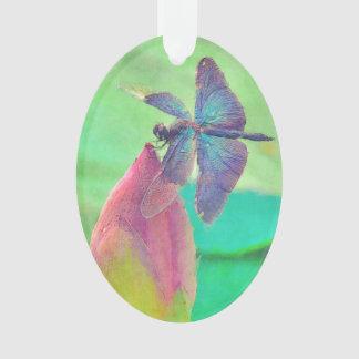 Schillernde blaue Libelle auf Wasserlilie Ornament