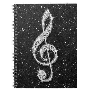 Schillernde funkelnd Diamant-Musik-Druckanmerkung Spiral Notizblock