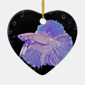 Schillernde lila kämpfende Fische Keramik Ornament