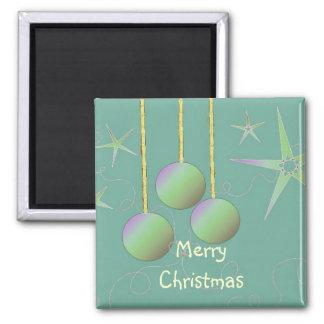Schillernder frohe Weihnacht-Entwurf Quadratischer Magnet