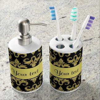 Schillernder funkelnd gelber Glitter-Damast Seifenspender & Zahnbürstenhalter
