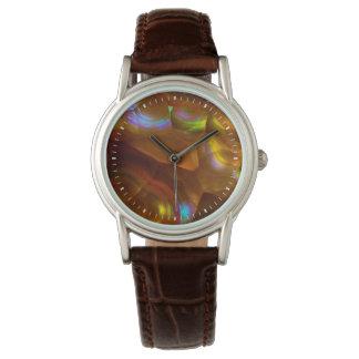Schillernder orange Feueropal Armbanduhr
