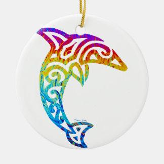 Schillernder Stammes- Delphin Rundes Keramik Ornament