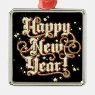 Schillerndes neues Jahr Silbernes Ornament