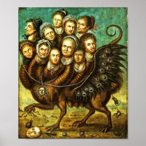 Schimäre Winged Geschöpf-groteskes Horror-Monster Plakat
