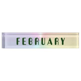 Schimmer-Schreibtisch-Nummernschild Februars Schreibtischplakette