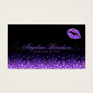 Schimmernde lila Lippenschwarze Geschäfts-Karte Visitenkarte