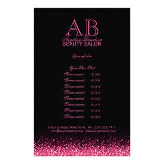 Schimmernde rosa Stern-Entwurfs-Schwarz-Preisliste Flyer