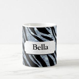 Schimmernde silberne Zebra-Streifen Kaffeetasse