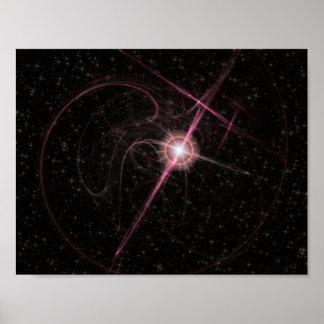 Schimmernder rosa Stern-Explosions-Papier-Lech Poster