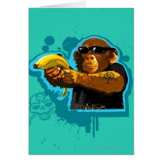 Schimpanse, der eine Banane hält Karte