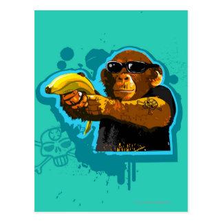 Schimpanse, der eine Banane hält Postkarte