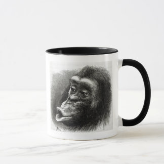 Schimpanse enttäuscht und mürrisch tasse