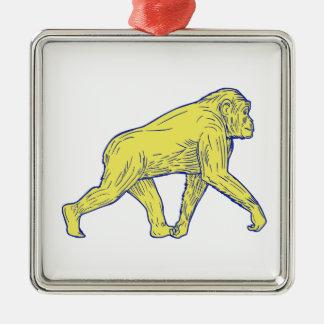 Schimpanse-gehendes Seiten-Zeichnen Silbernes Ornament