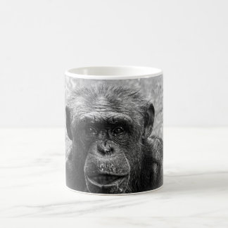 Schimpanse-Gesicht, großer Charakter, Schwarzweiss Kaffeetasse