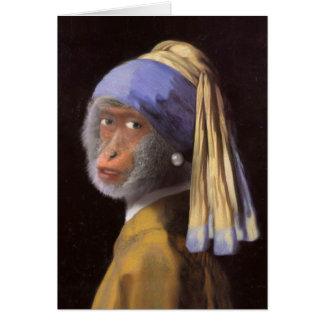 Schimpanse mit dem Perlen-Ohrring Karte